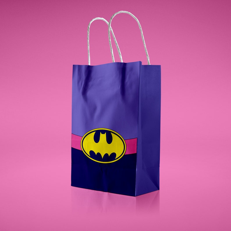 graphic relating to Batgirl Logo Printable identified as Batgirl Like bag PDF Printable Superhero women of all ages Electronic Goody Handle Present Box Justice League Style and design Birthday Social gathering Elements Decoration Batman