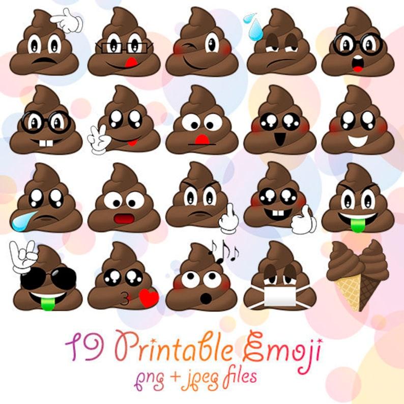19 Png Cute Emoji Poops Set Funny Digital Poo Kawaii Smiley Faces Clipart Design Emoticon Clip Art Poop Birthday Party Printable Poop