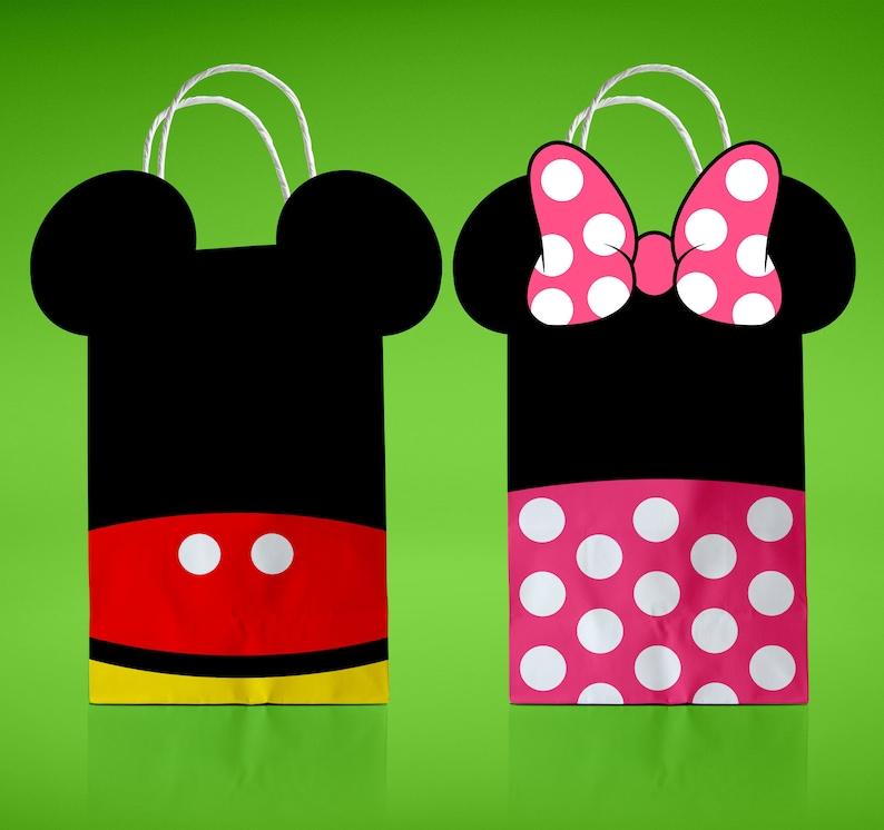 0544218e0 Convite de Mickey imprimible Minnie Mouse Favor bolsas bolsa Mickey &  Minnie inspirado Goody bolsas cumpleaños decoración del partido instantáneo  ...