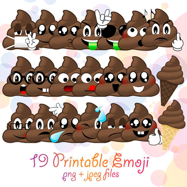 Emoji Poops Caca Funny Digital Poo Clipart Design Emoticons Faces Printable Birthday Party Supplies Smiley Emotions Expressions Smile Face
