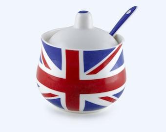 Handmade Union Jack Sugar Pot & Spoon