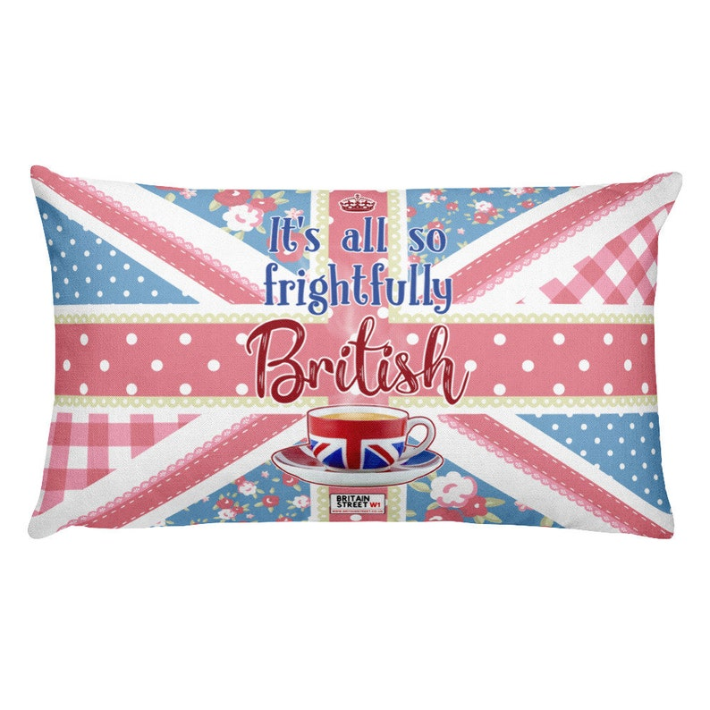 It's All So Frightfully British' Throw Pillow image 0
