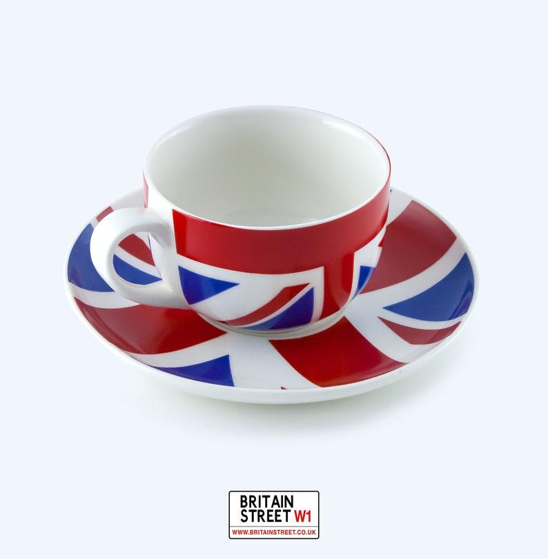 Handmade Matching Union Jack Teacup and saucer image 1