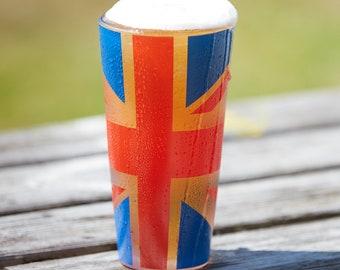 Handmade Union Jack Pint Glass