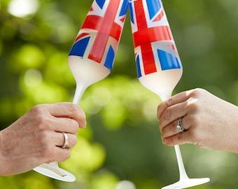 Set of 2 Union Jack Champagne Flutes (+1 set FREE!)