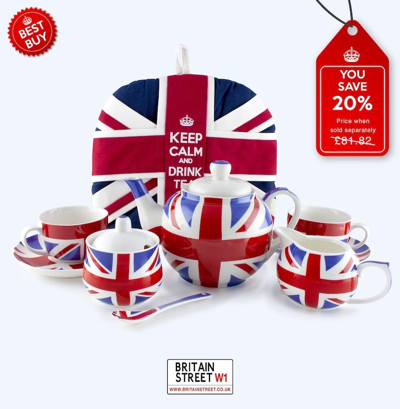 Handmade Union Jack Tea Set  Complete Set image 0