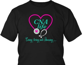 f683ccb37 CNA Shirts with Cute Funny Slogans : CNA Life T shirts Stethoscope Love  Heart Shape Gift for CNA Nurses Unique Tee Design on Etsy Women Men