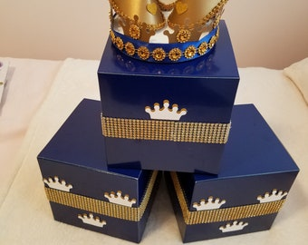 Royal Baby Shower Baby Shower Boy Baby Shower Decor Royal Blue And Gold  Centerpiece Baby Boy Birthday Decor Candy Table Decor Blue And Gold