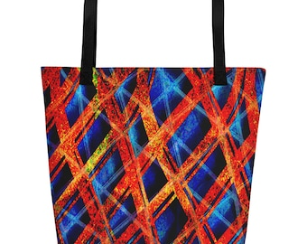 Beach Bag Red and blue abstract designs