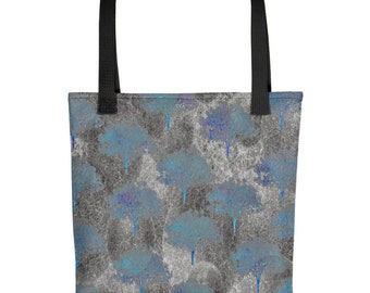 Tote bag gray and blue tree design