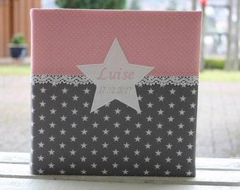 Baby Photo Album Christening Album Children's Album Baby Album Customizable Customizable Gift to Birth Gift for Baptism Stars Dots Pink
