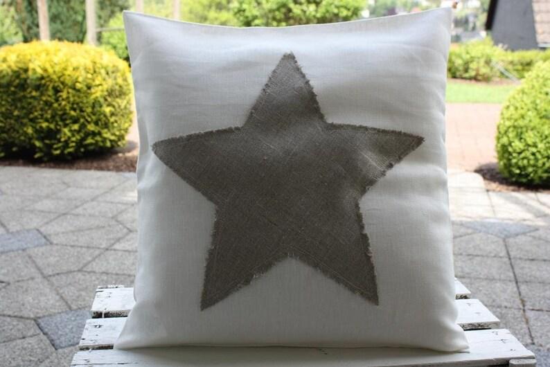 Linen pillow Cover star Linen cream Ecru Bemali 40 x 40 cm image 0