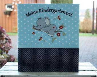 Nursery folder Kindergarten folder Kita folder Portfolio Kindergarten folder cover with name Primary school folder Elephant customizable Bemali