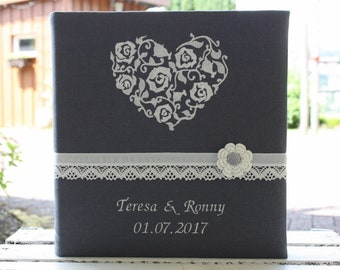 Guestbook, wedding photo album with linen cover, customizable, customizable, embroidered linen, heart, anthracite, romantic