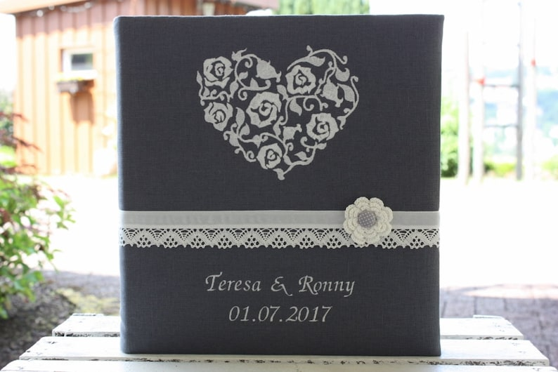 Wedding photo album with linen envelope customizable image 0