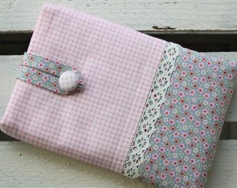 E-reader bag (6 inch devices), e-reader case, e-reader case, e-reader bag, flower, checkered, pink, grey blue, romantic, playful