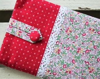 E-reader bag (6 inch devices), e-reader case, e-reader case, e-reader bag, scattering flowers, dots, romantic, playful, lace, bemali