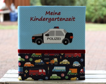 Kindergarten folder Kita folder Portfolio Kindergarten folder cover with name Primary school folder Police car blue customizable Bemali