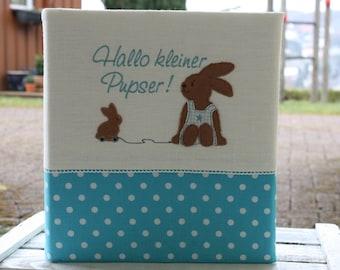 Babyalbum Taufalbum Kinderalbum Fotoalbum individualisierbar personalisierbar Geschenk zur Geburt Geschenk zur Taufe Hase Bemali türkis