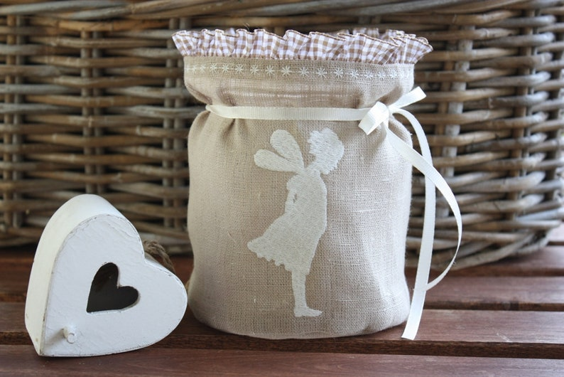 Light bag elf angel linen lantern windlight linen bag vintage image 0