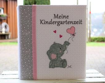 Kindergarten Folder Kita Folder Portfolio Kindergarten Folder Sleeve with Name Elementary School Folder Elephant Girl Folder Customizable Bemali