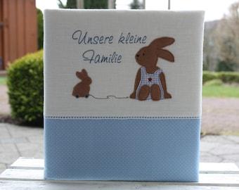 Baby album baptism album children's album photo album customizable customizable gift for birth Gift to christening bunny Bemali light blue