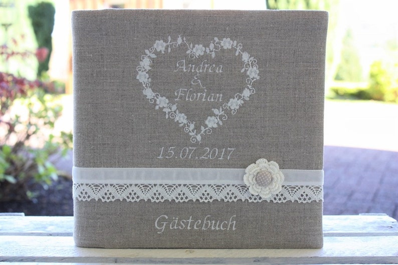 Customizable guestbook personalizable name linen heart image 0