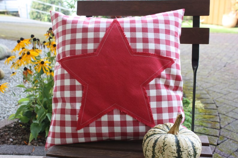 Pillow Cover cushion star Checkered Linen Red Bemali 40 x 40 image 0