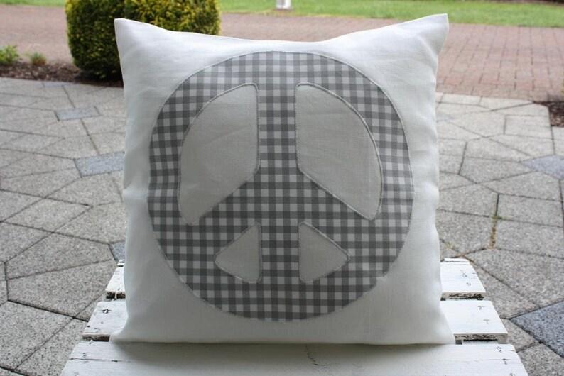 Peacekissen Linen Pillow Cream ecru Linen pillow Cover Peace image 0