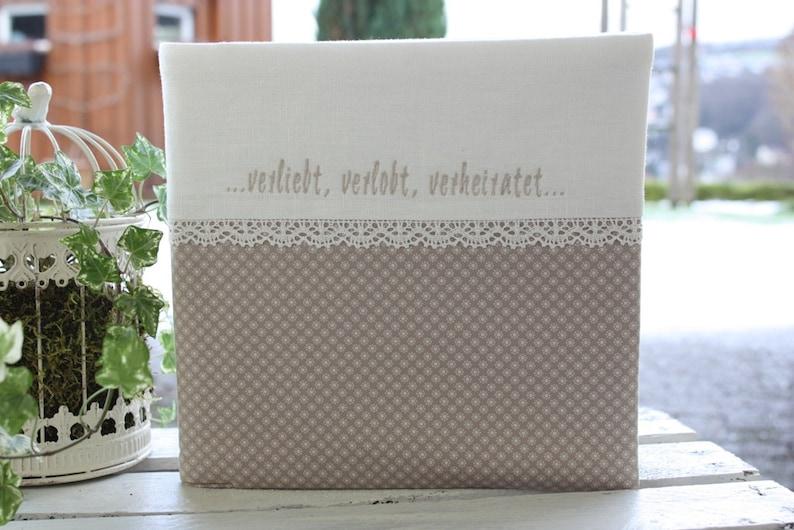 Guestbook beige linen wedding guestbook wedding gift image 0