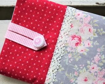 E-reader bag (6 inch devices), e-reader case, e-reader case, e-reader bag, roses, dots, gray, red, romantic, playful, lace