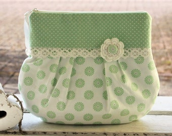 Cosmetic bag, makeup bag, clutch, bucket bag, crime bag, toiletry bag, dots, playful, romantic, lace, bemali
