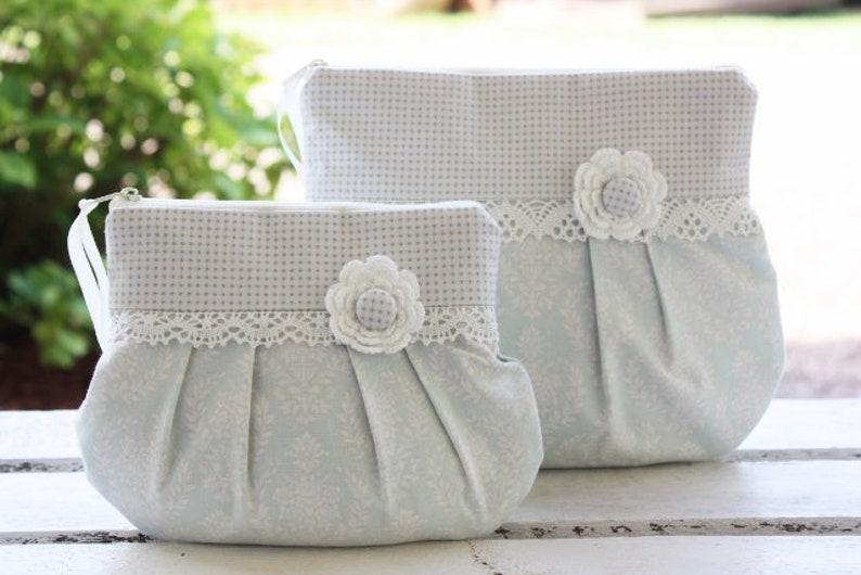 Cosmetic bag makeup bag pastel turquoise romantic playful image 0