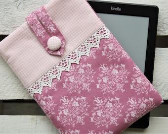 E-reader bag (6 inch devices), e-reader case, e-reader case, e-reader bag, lilies, purple, pink, romantic, playful, vintage, Bemali