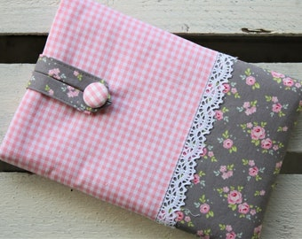 E-reader bag (6 inch devices), e-reader case, e-reader case, e-reader bag, roses, grey, pink, romantic, playful, lace, bemali