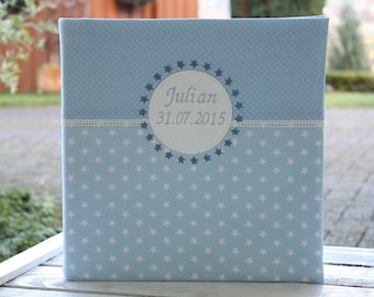 Baby Photo Album Baptismal Album Children's Album Customizable Gift Birth Gift Baptism Stars Points Blue Baby Album Bemali