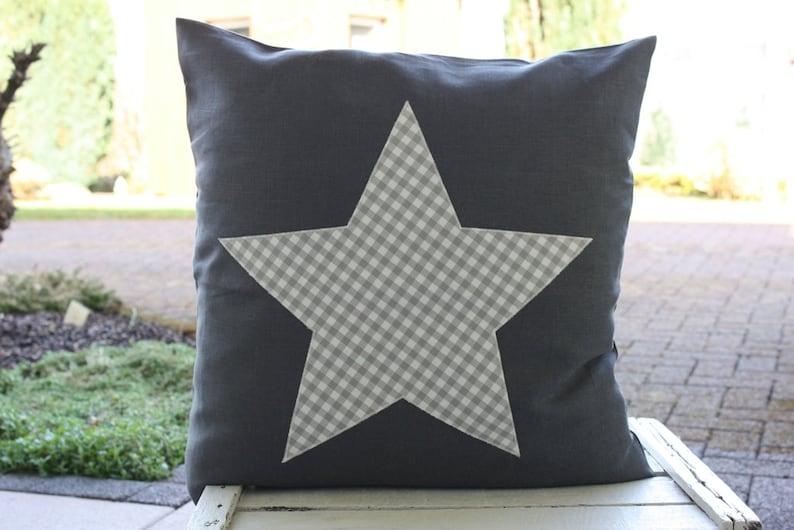 Linen pillow cover star checkered linen grey Bemali 50 x 50 cm image 0