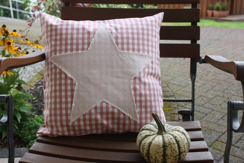 Pillow Cover star checkered linen old rose Bemali 40 x 40 cm image 0