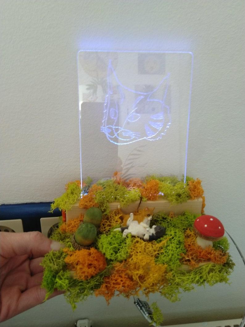 Autumn decoration LED plexiglass display on wooden base image 0