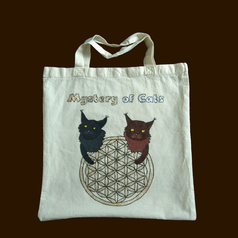 Carrying bag with saying Mystery of Cats image 0