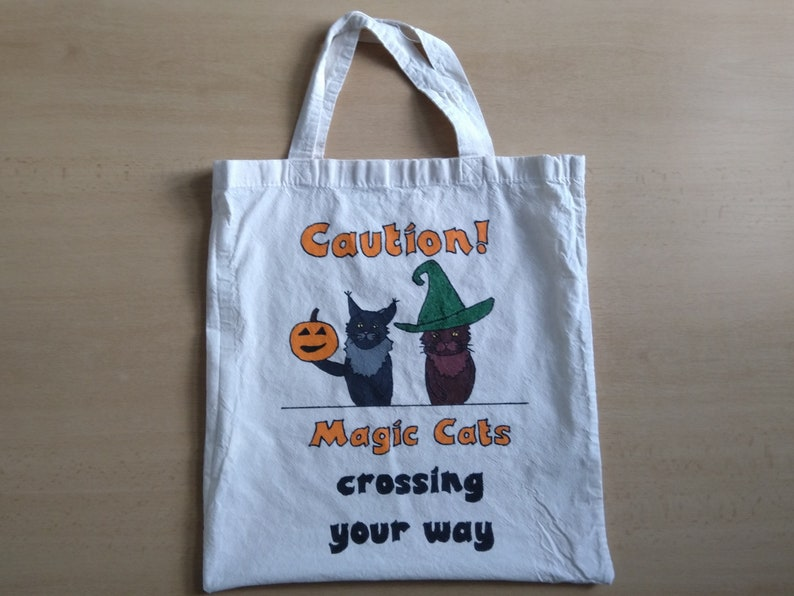Hand-painted cotton tote bag  Magic Cats image 0