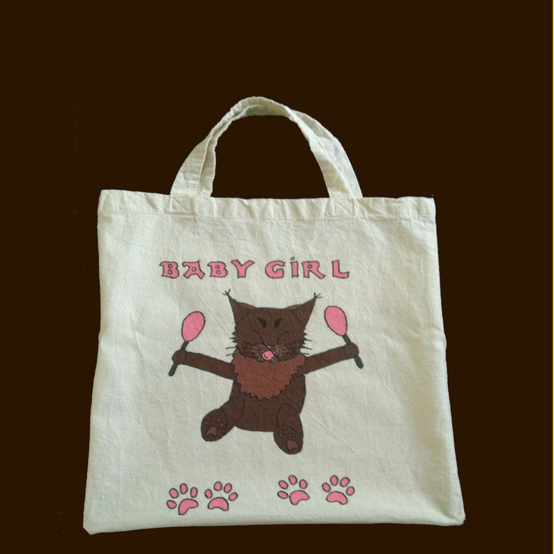 Carrying bag with saying Baby Girl handpainted image 0