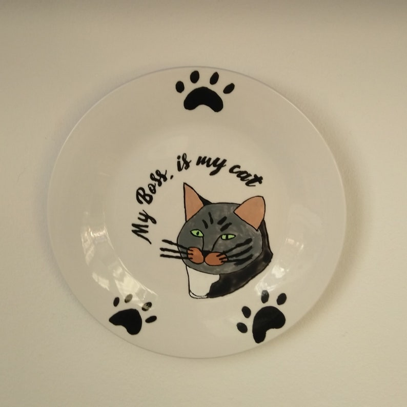 Teller  My boss is my Cat  hand-painted for image 0