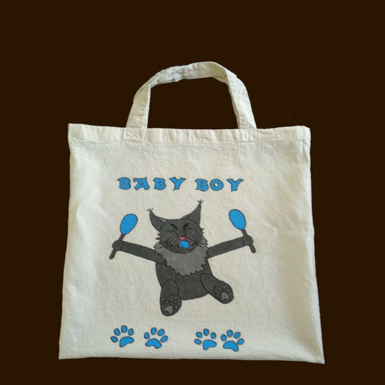 Carrying bag with saying Baby Boy handpainted image 0