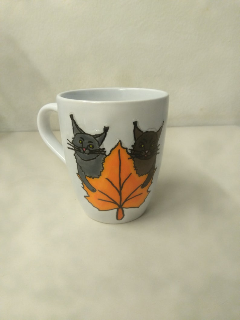 Coffee cup  Golden Cats  Autumn 0.3 l  hand painted image 0