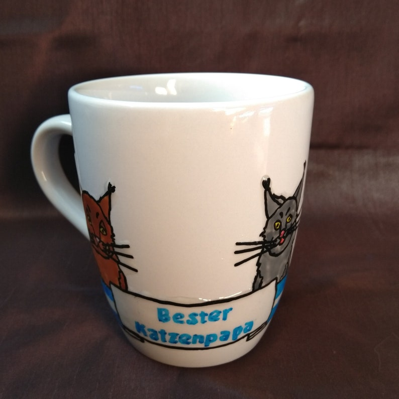 Cup  Best Cat Papa 0.3 l  hand-painted image 0