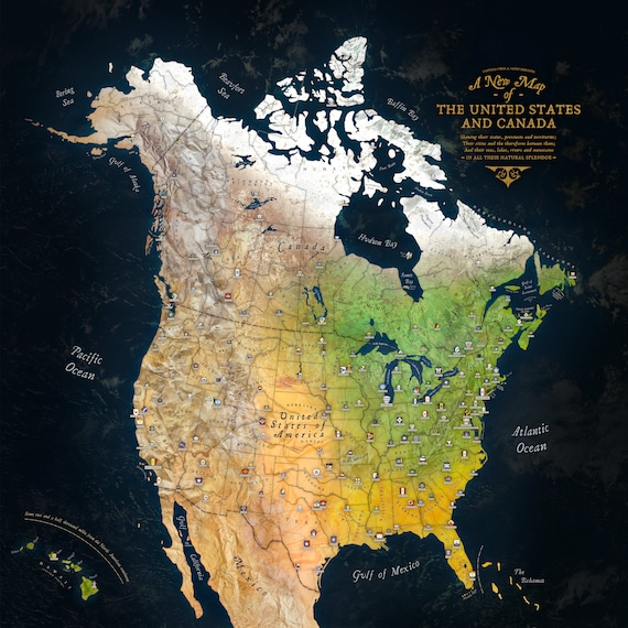 Beautiful old-fashioned map of the US and Canada
