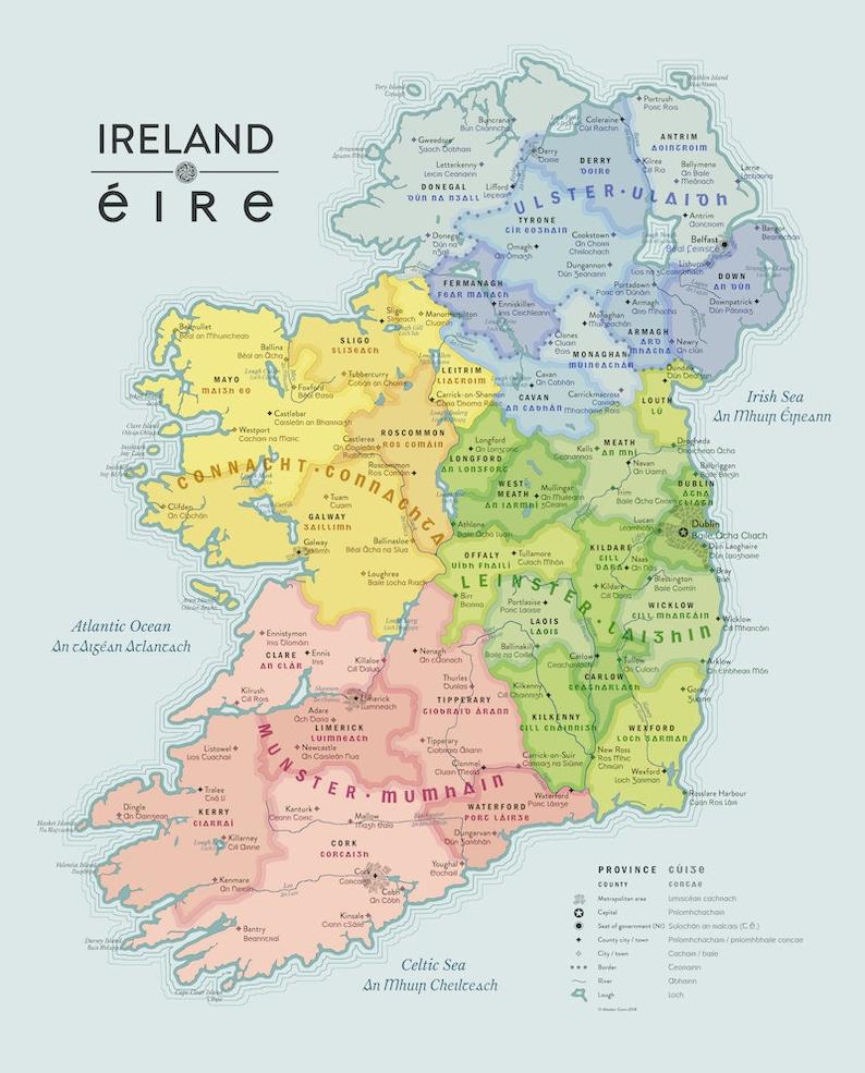Map Of Ireland Gaeilge.Beautiful Map Of Ireland In English And Irish Gaeilge Etsy