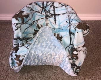 Blue Camo-Fleece Blanket