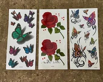 59cbe31ca18c0 Womens Tattoo. Butterfly Tattoo. Rose tattoo. Flower Tattoo. Cute Temporary  Tattoo. Fake Tattoo. 3D Tattoo. Color Tattoo.